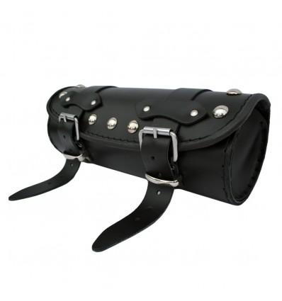 Motorcycle Black Leather Tool Roll / Saddlebag