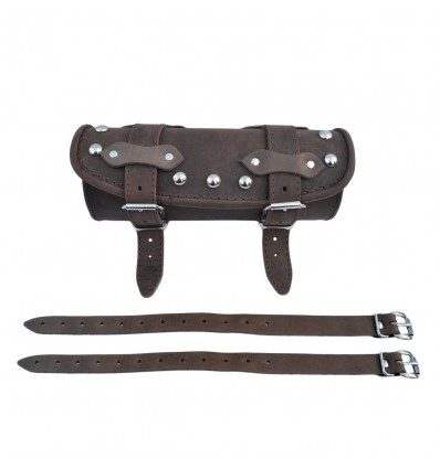 Genuine Brown Leather Tool Roll / Bag - Studded
