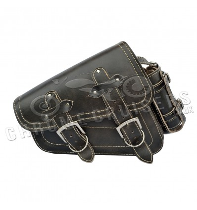 """Harley Davidson Sportster Black Leather Saddlebag """"Vintage"""" with bottle holder"""