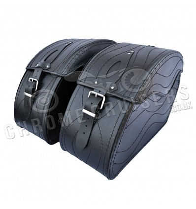 Motorcycle Plain Leather Saddlebag (left and right) C15A