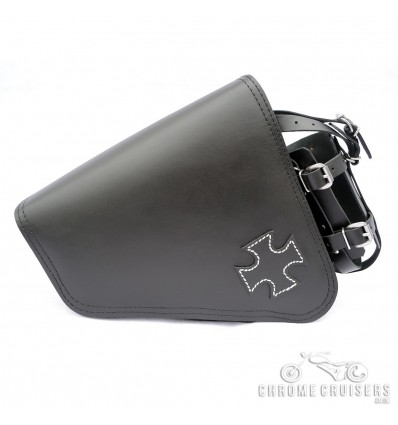 Harley Davidson Sportster Leather Saddlebag with cross emblem.