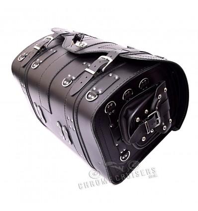 Black leather Rear Bag / Sissy bar bag with lock (K15A)