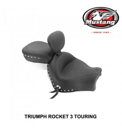 Triumph Rocket 3 Touring (2008-up) Mustang Two Piece Studded Seat with Rider Backrest