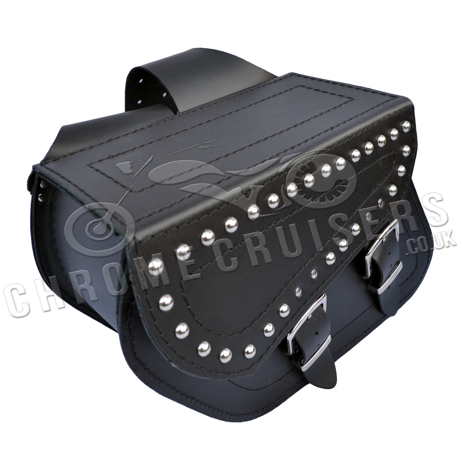 Motorcycle black leather saddlebags panniers honda vt vtx for Yamaha virago 1100 saddlebags