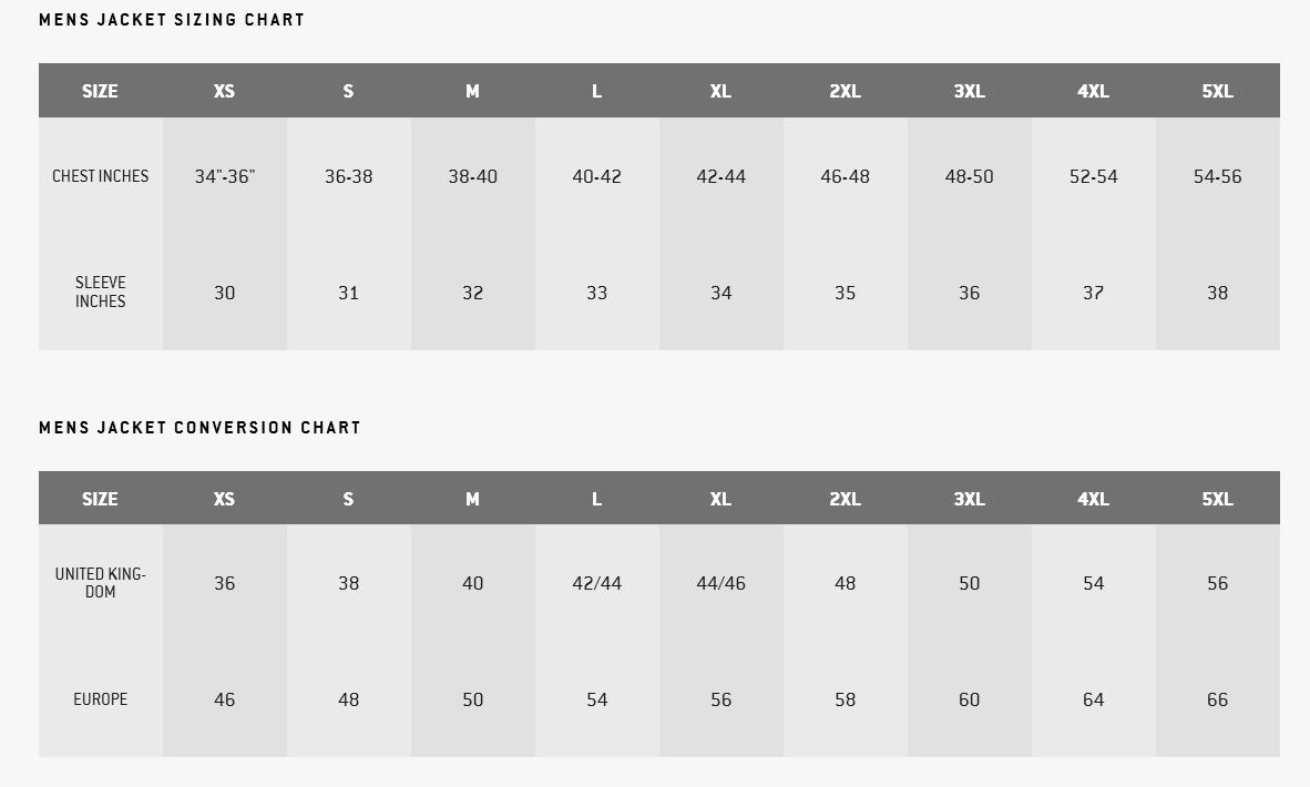 ICON Jacket Size Chart