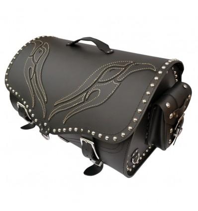 Motorcycle Black Leather Top Case / Rear Bag / Sissybar Bag Saddlebag K22B/E