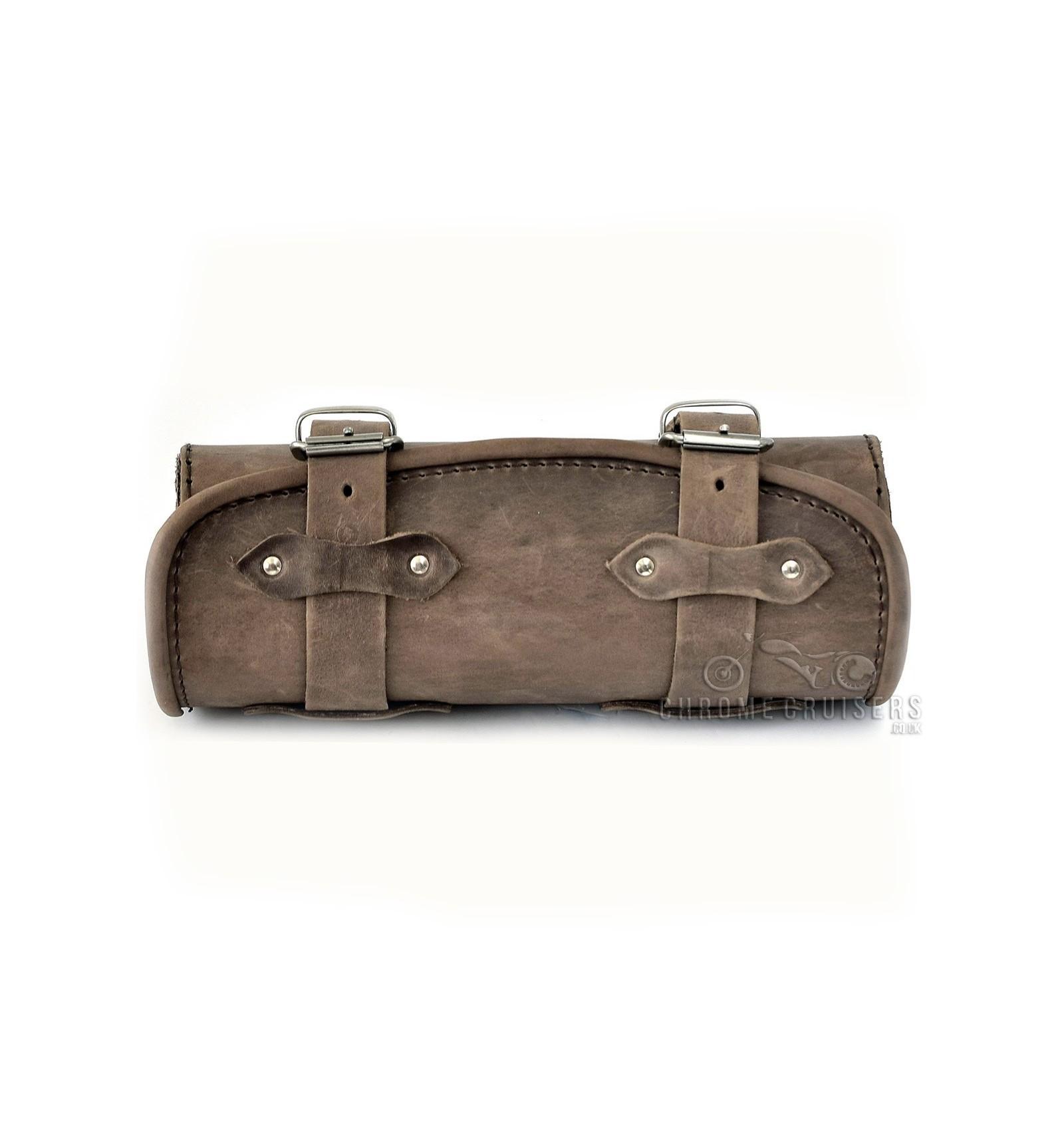 Genuine Brown Leather Tool Roll Bag Chrome Cruisers