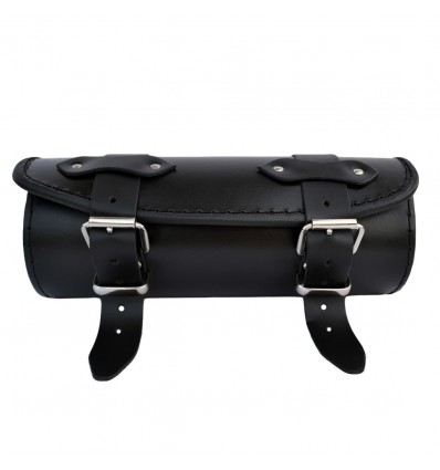 Motorcycle Black Leather Tool Roll / Saddlebag