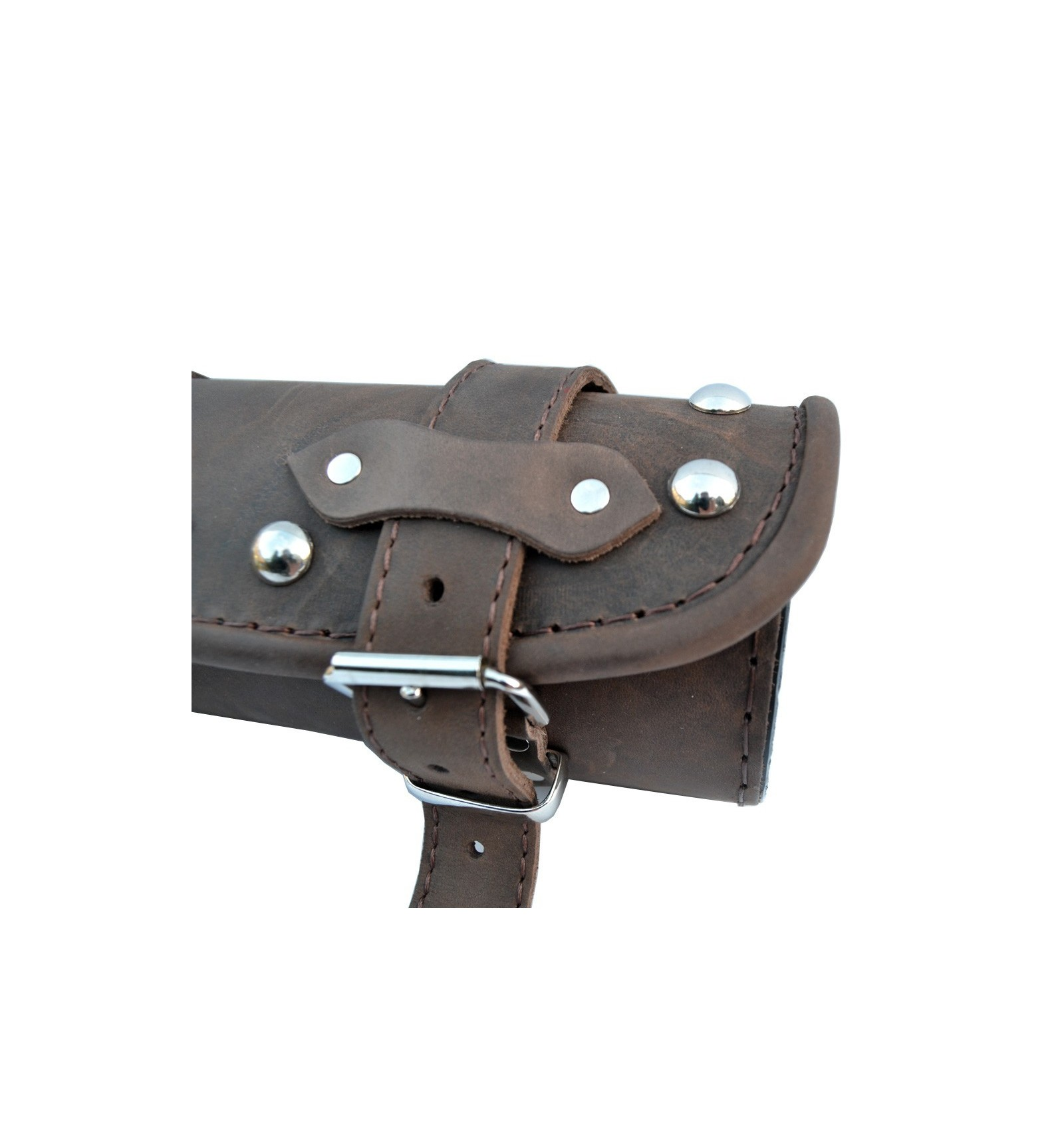 Genuine Brown Leather Tool Roll Bag Studded Chrome