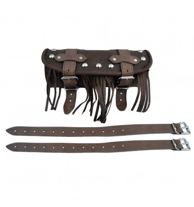 Genuine Brown Leather Tool Roll / Bag Studded/Fringes