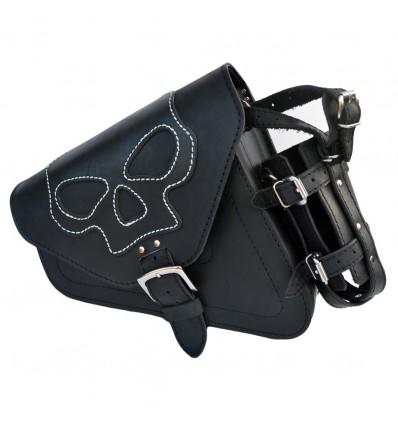 Harley Davidson Sportster Black Leather Saddlebag with Skull emblem and bottle holder
