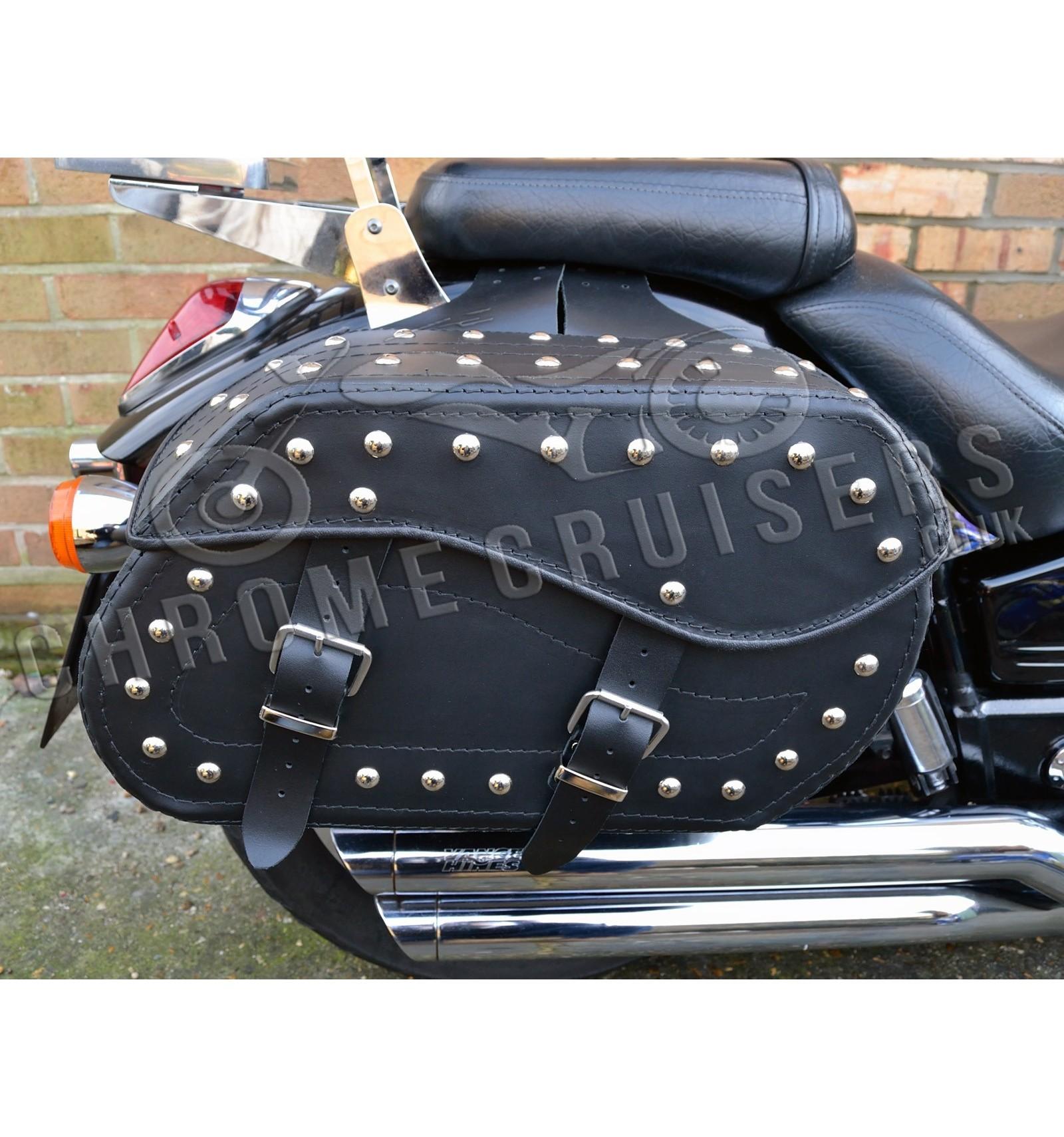 Motorcycle Leather Saddlebag Pair C12b Chrome Cruisers