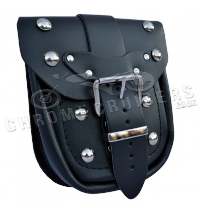 Motorcycle leather pouch with rivets.
