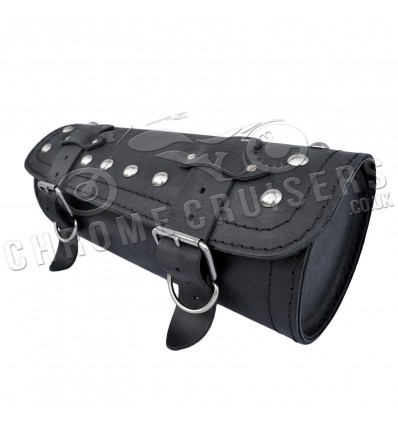 Motorcycle real leather large tool roll with rivets.