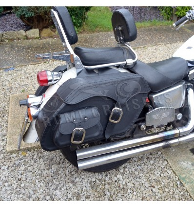 Motorcycle Black Leather Extra Large Saddlebags (pair) C5A
