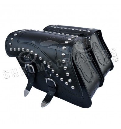 Motorcycle leather saddlebags with studs C29B
