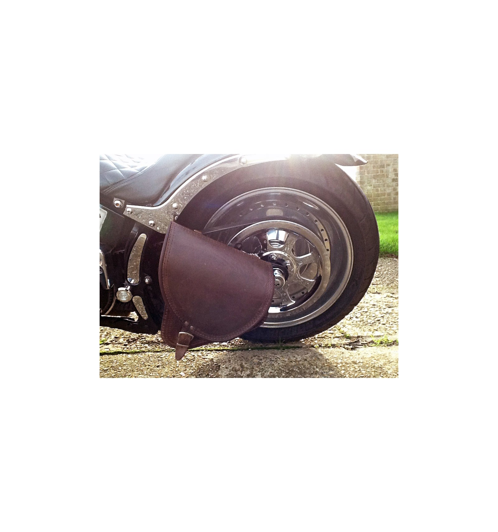 Harley Davidson Windshields >> Harley Davidson Softail Brown Leather Saddle bag - Chrome ...