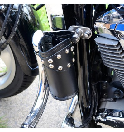 Motorcycle leather drink holder with studs