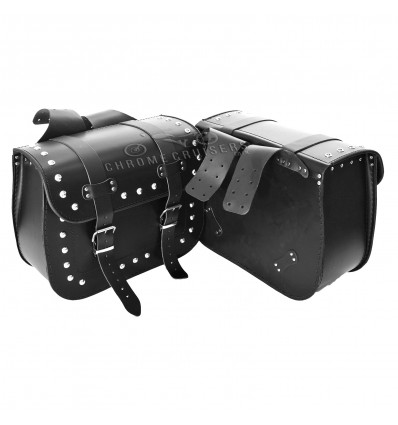 Top Quality Motorcycle Handmade Leather Saddlebags Panniers with Rivests (pair) C101B - 21L
