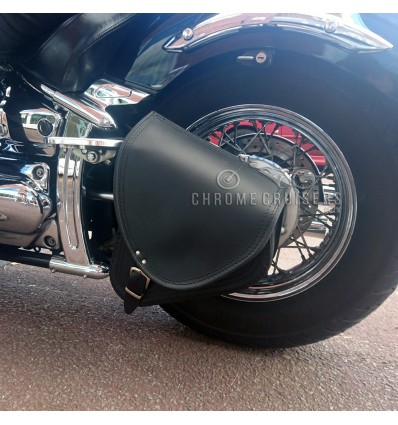 Motorcycle Black Leather Single Saddlebag Pannier