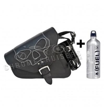 Harley Davidson Sportster Stylish Leather Saddle bag with LowBrow 1L Fuel Bottle
