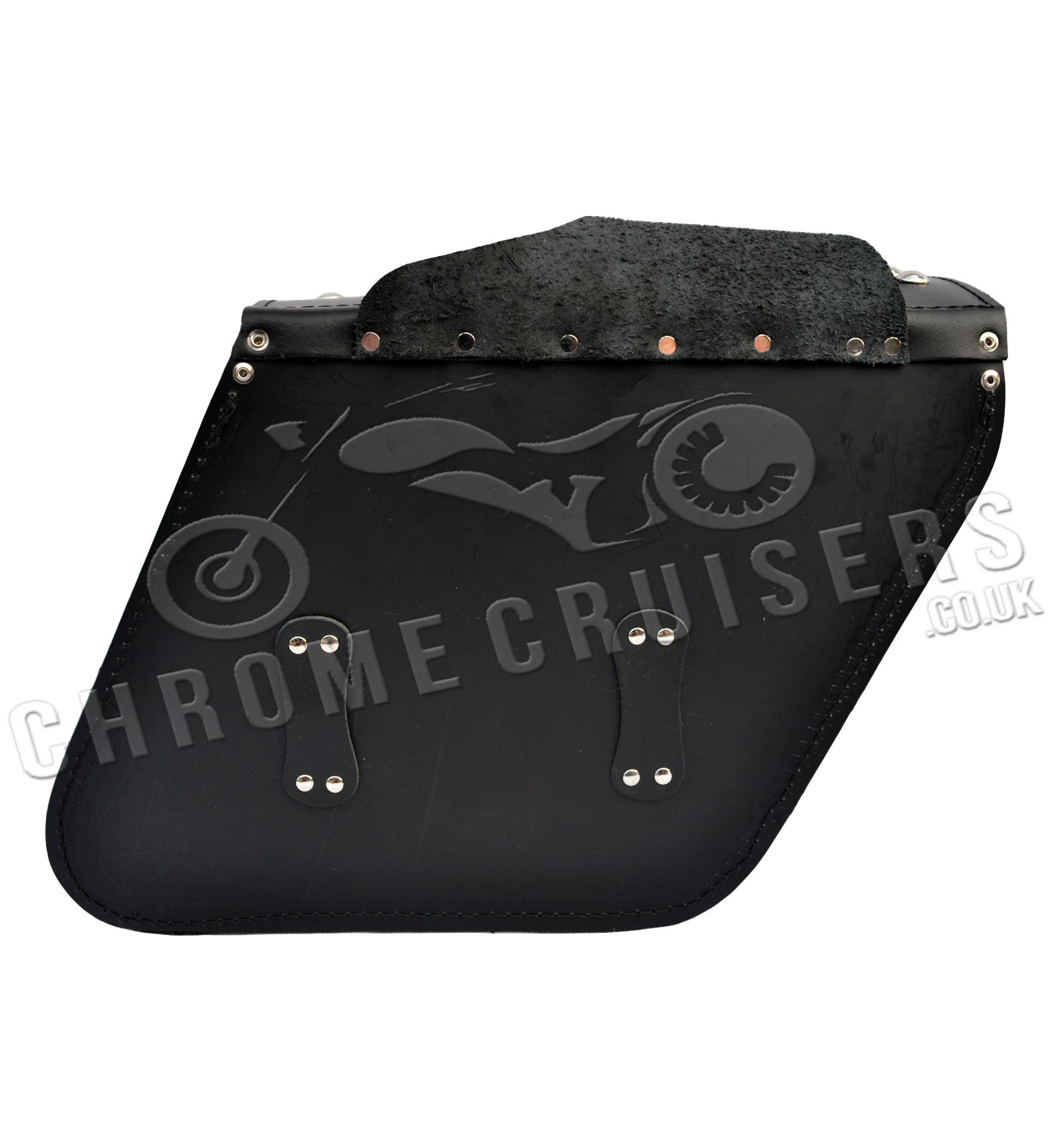 Motorcycle Leather Saddlebags With Rivets C28b Chrome