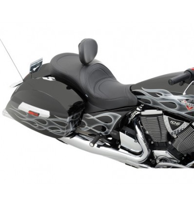 Victory Cross Country, Crossroads Drag Specialties Low Profile Touring Seat with built in Backrest