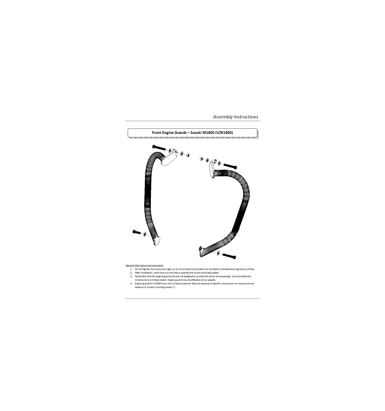 Suzuki Vzr1800 M1800r Intruder Black Engine Guards Crash Bars Honda Vtx 1800 Diagram