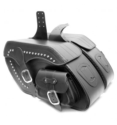 Motorcycle Black Leather Large Saddlebags (pair) C5B