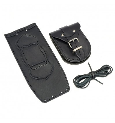Harley Davidson Softail / Fat Boy Black Rear Leather Tank Panel with Pouch