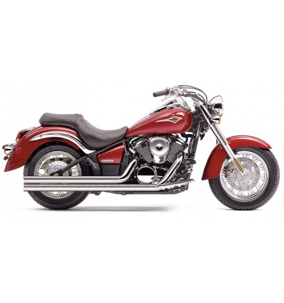 Kawasaki VN900 CLASSIC / CUSTOM EXHAUST SYSTEM HOT ROD SPEEDSTER LONG W/POWERPORT 2 INTO 2 STRAIGHT-CUT TRIPLE-CHROME