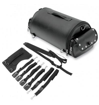 Saddlemen EXR1000 Desperado style rambler roll bag with studs