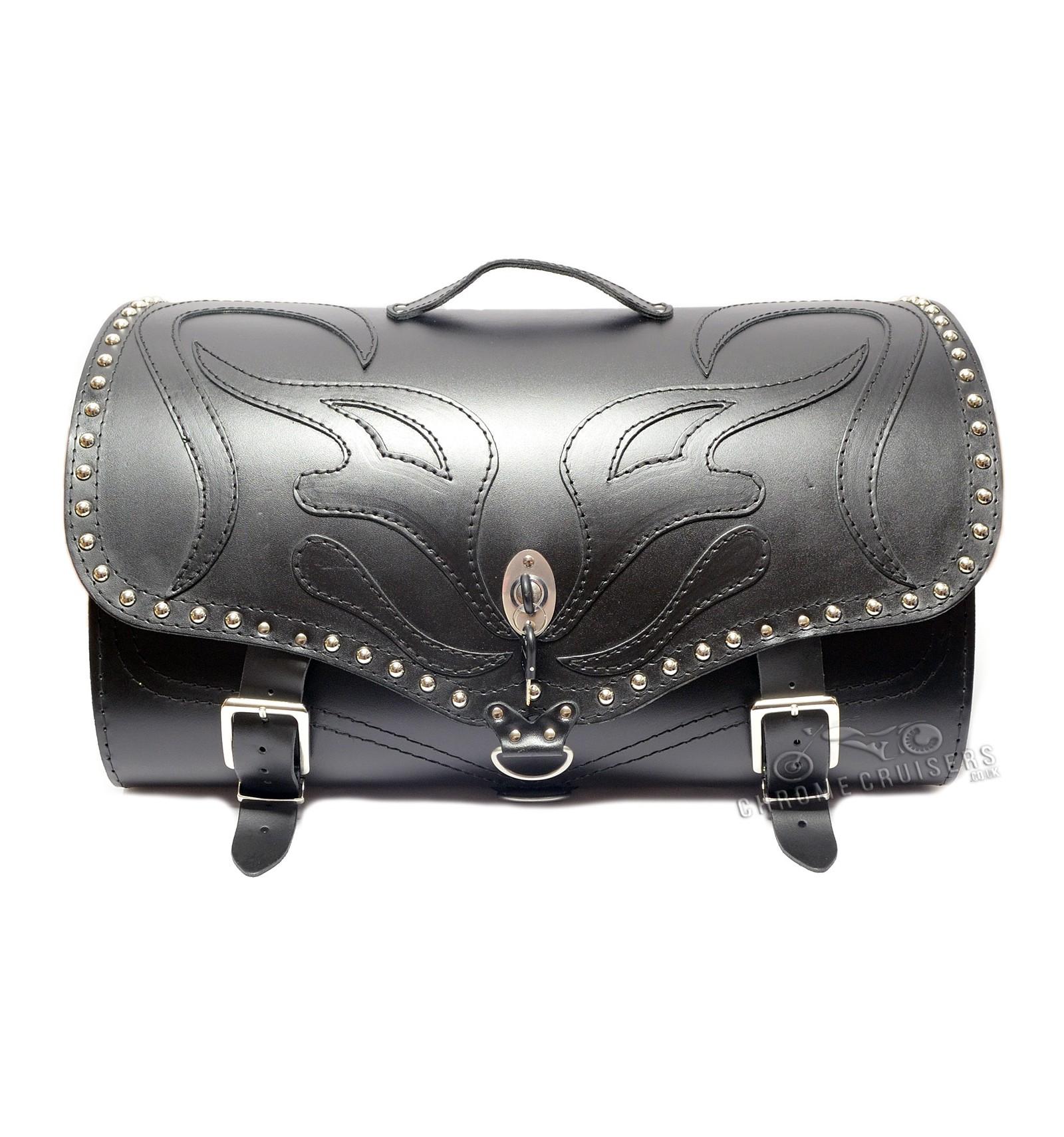 Motorcycle Leather Rear Bag Top Case Sissy Bar Bag