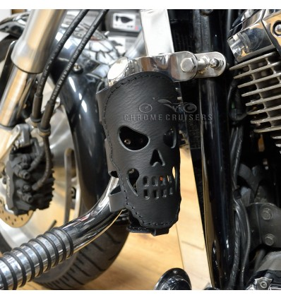 Motorcycle Rear Leather Drink / Bottle Holder - Skull (N8A)