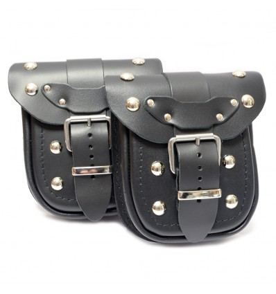 Motorcycle leather pouch with rivets (Ki1B)