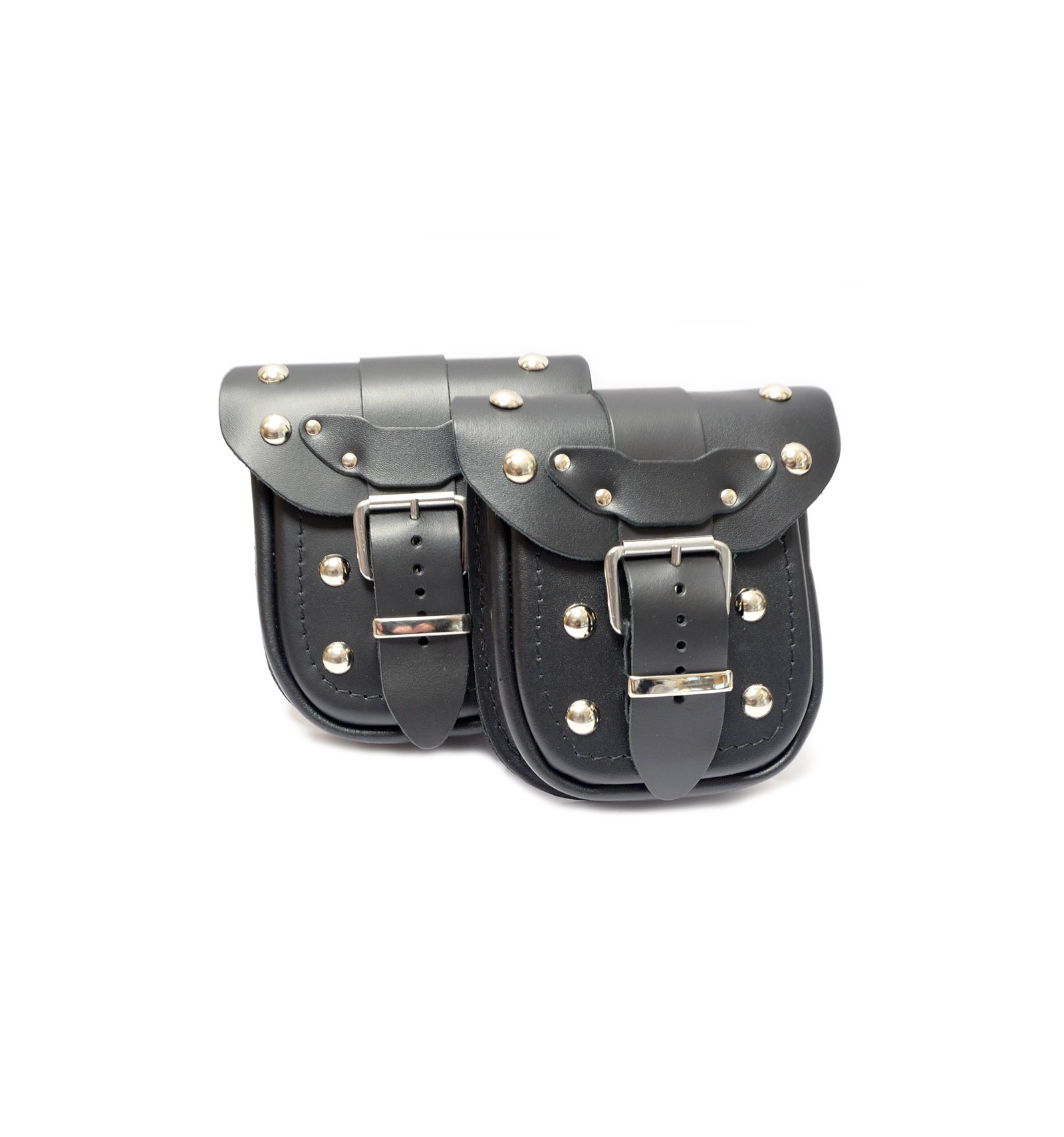 Motorcycle Leather Pouch With Rivets Ki1b Chrome Cruisers