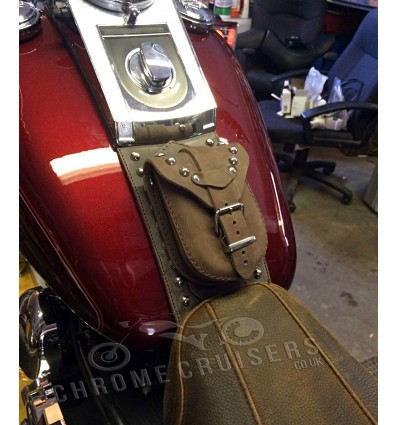 Harley Davidson Softail / Fat Boy Brown Genuine Leather Tank Panel with Pouch - Studded