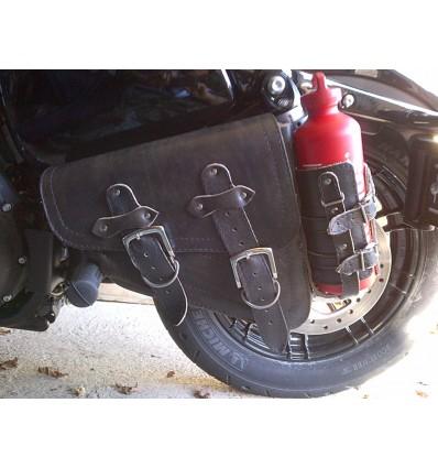 """Harley Davidson Sportster Black Leather Saddlebag """"Vintage"""" with bottle holder and Red Bottle"""