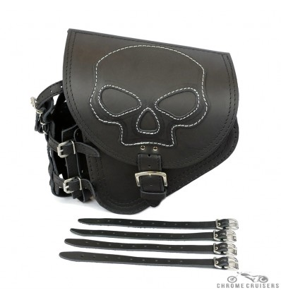 Harley Davidson Softail - Black Genuine Leather Swingarm Saddlebag - SKULL