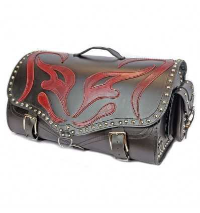 Motorcycle Black Leather Top Case / Rear Bag / Sissy bar Bag Trunk - RED DEMON