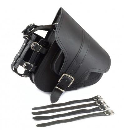 Black Genuine Leather Swingarm Saddlebag / Pannier with detachable bottle holder