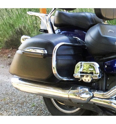 Motorcycle Black Leather Covered Large Hard Saddlebags / Panniers