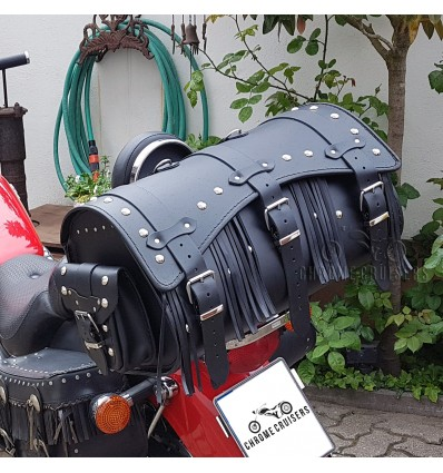 Black Leather Top Case / Rear Bag / Sissybar Bag