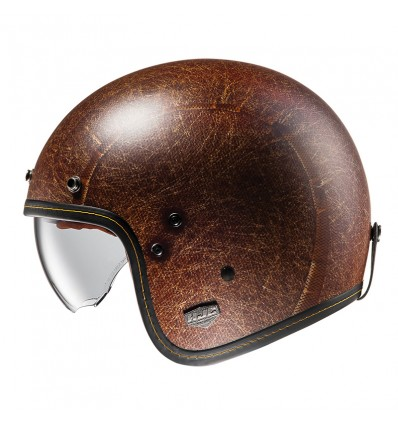 HJC FG-70s Vintage Flat Brown Motorcycle Classic Open Face Helmet