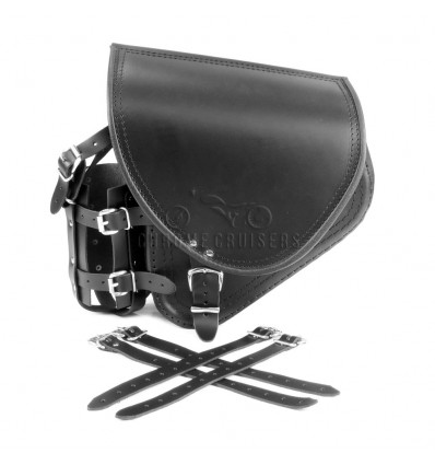 Harley Davidson Softail / FatBoy / Breakout - Black Leather Swingarm Saddlebag with Bottle Holder and FUEL Bottle