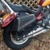 Motorcycle black leather saddlebags with studs and tassels (11L)