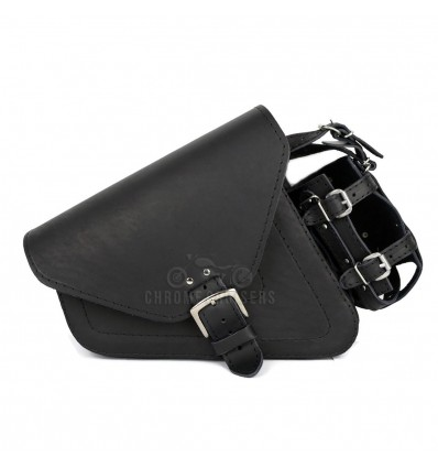 Black Leather Saddlebag with and bottle holder for Harley Davidson Sportster XL883 1200