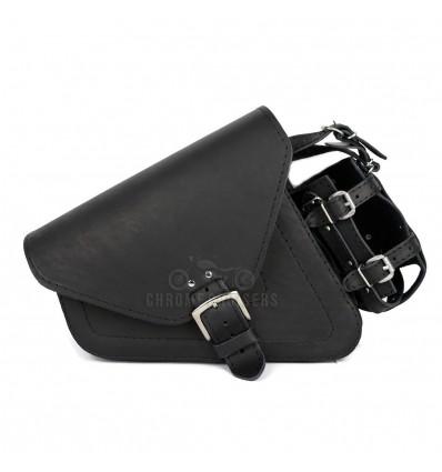 Black Leather Saddlebag with and bottle holder for Harley Davidson Sportster XL883 1200