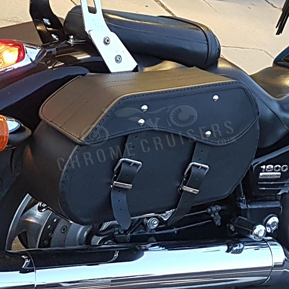 motorrad schwarz leder satteltaschen kawasaki vn900 1500. Black Bedroom Furniture Sets. Home Design Ideas