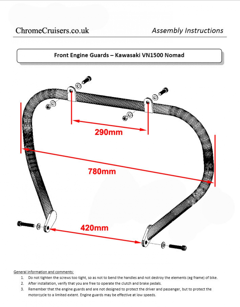 Kawasaki Vn1500 Vn 1500 Nomad Fi 2000 2006 Engine Guard Highway Wiring Schematic Heavy Duty Chrome Crash Bar